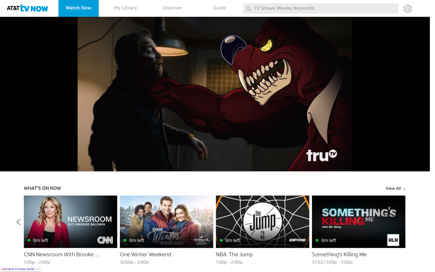 ATT TV NOW homepage