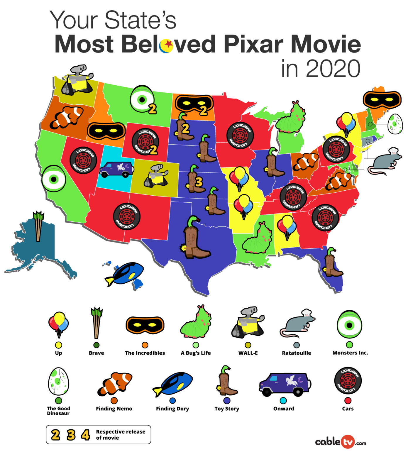Your State's Most Beloved Pixar Movie Map