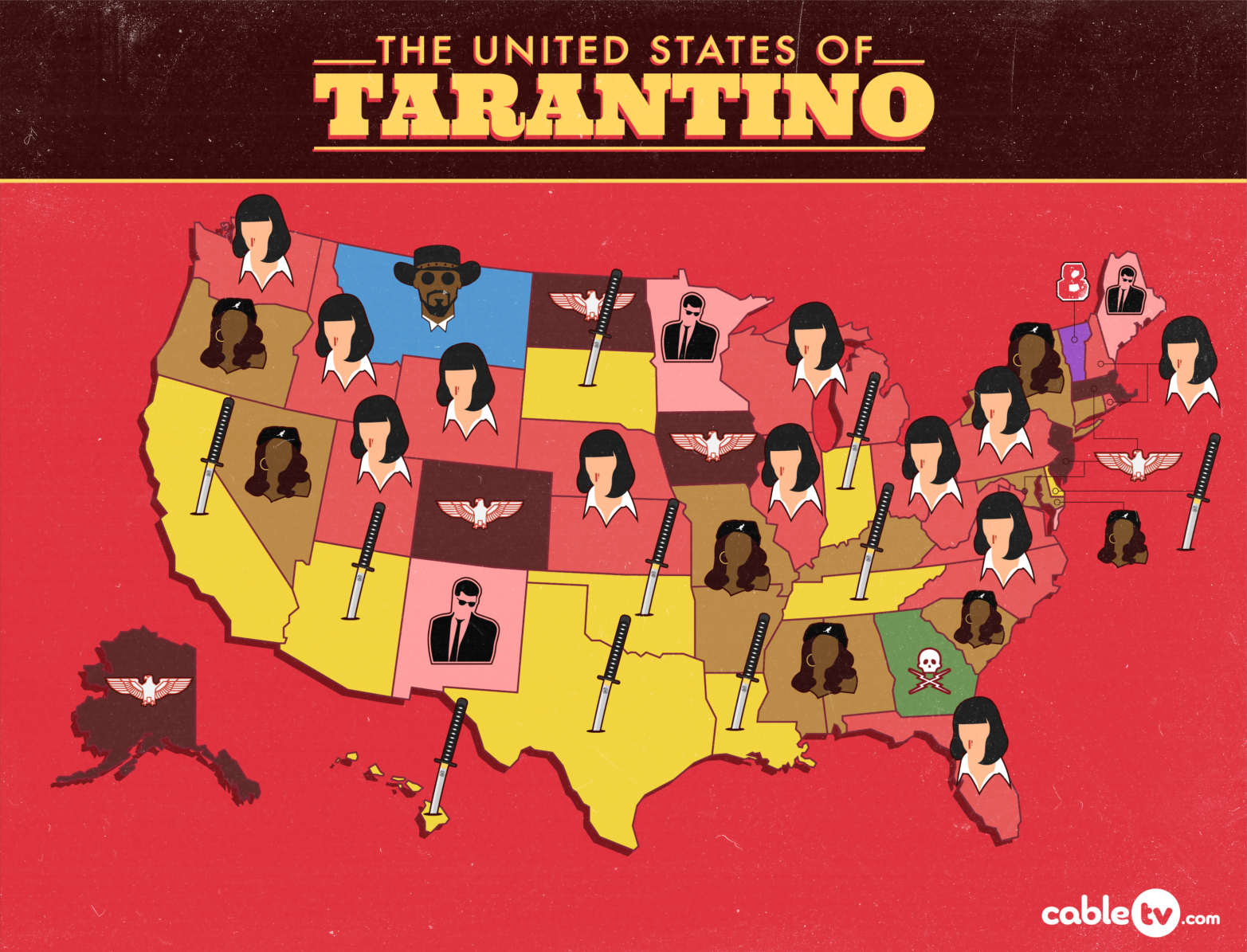 Your State's Favorite Tarantino Movie | CableTV.com on walt disney world state map, terre haute state map, i love ny state map, florida state map, tampa state map, naples state map, mesa verde state map, pensacola state map, california state map, philly state map, oakland state map, louisville state map, miami state map, baltimore state map, boston state map, tv show state map, anaheim state map, seattle state map, white house state map, orlando state map,