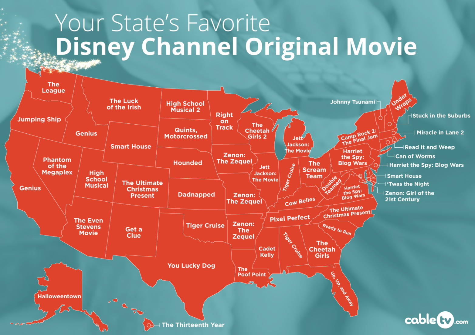 Most Popular Disney Channel Original Movie in Your State Map