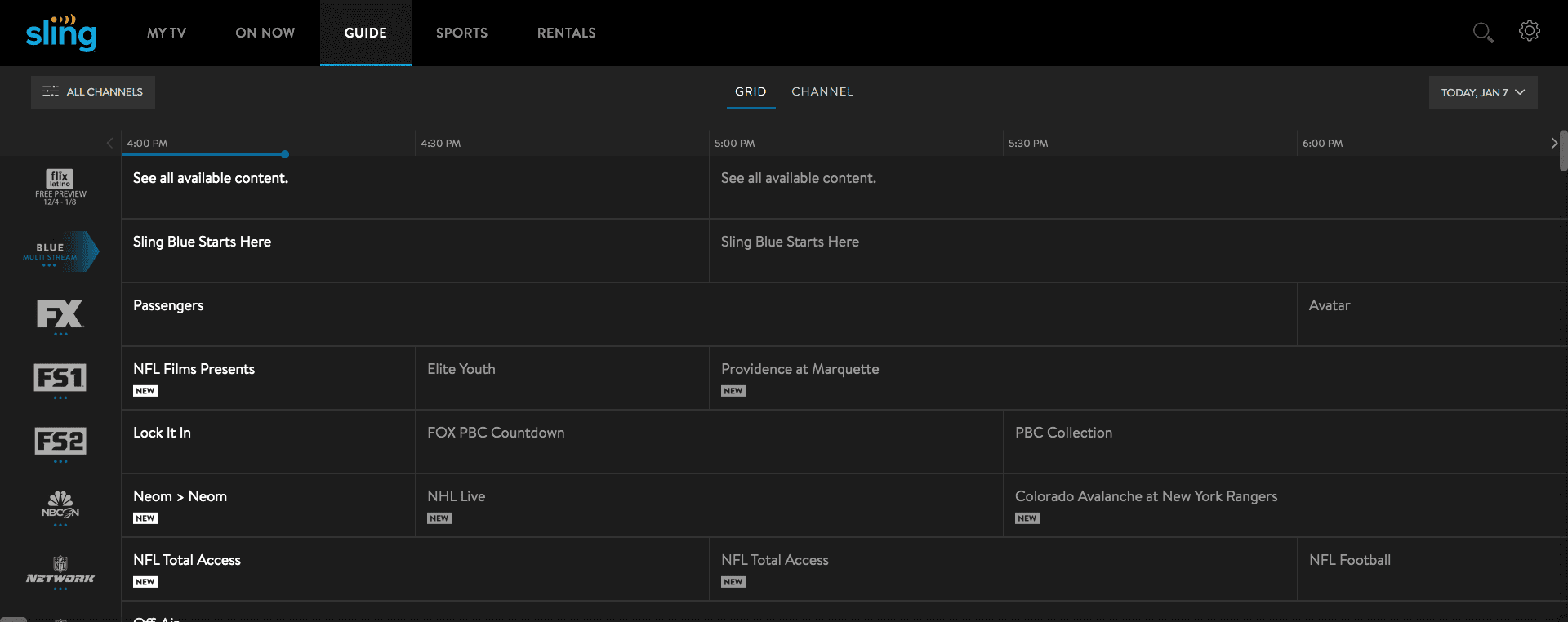 Sling TV channel guide   Cabletv.com